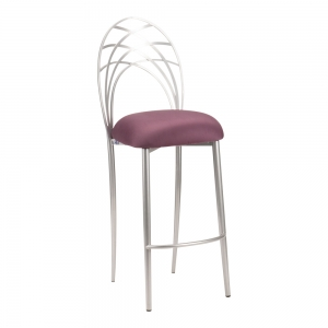 Silver Piazza Barstool with Lilac Suede Cushion (2)