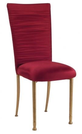 Chloe Cranberry Stretch Knit Chair Cover and Cushion on Gold Legs (2)