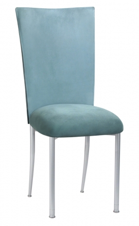 Ice Blue Suede Chair Cover and Cushion on Silver legs (2)