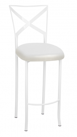 Simply X White Barstool with Metallic White Foil Stretch Knit Cushion (2)