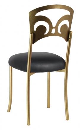 Gold Fleur de Lis with Black Leatherette Cushion (1)