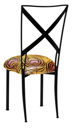 Blak. with Yellow & Pink Peacock Knit Cushion (1)