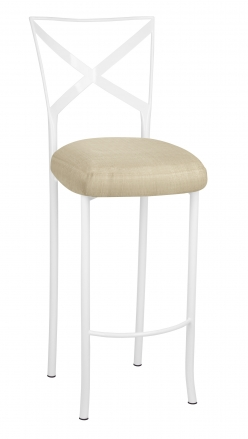 Simply X White Barstool with Parchment Linette Boxed Cushion (2)