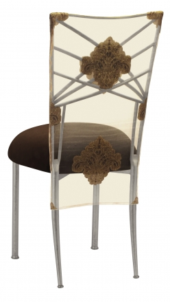 Silver Fanfare with Organza Medallion 3/4 Chair Cover and Chocolate Suede Cushion (1)
