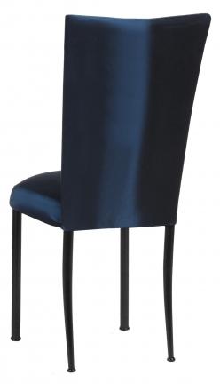 Midnight Blue Taffeta Chair Cover with Boxed Cushion on Black Legs (1)
