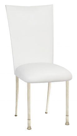 White Leatherette Chair Cover and Cushion on Ivory Legs (2)