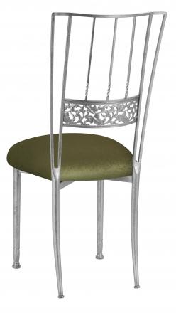 Silver Bella Fleur with Olive Velvet Cushion (1)