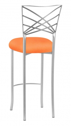 Silver Fanfare Barstool with Tangerine Stretch Knit Cushion (1)