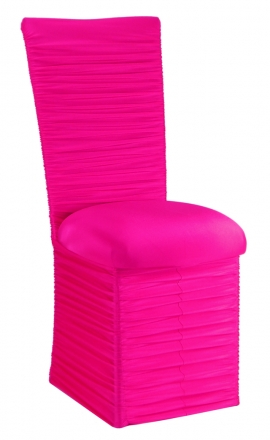 Chloe Hot Pink Stretch Knit Chair Cover with Jewel Band, Cushion and Skirt (2)
