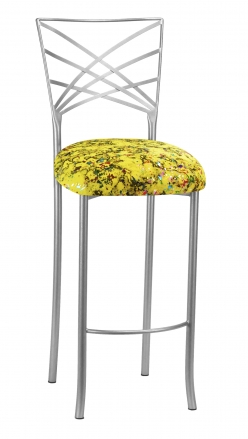 Silver Fanfare Barstool with Yellow Paint Splatter Knit Cushion (2)