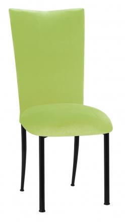 Lime Green Velvet Chair Cover and Cushion on Black Legs (2)