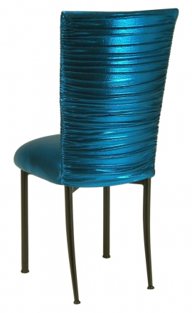 Chloe Metallic Teal Stretch Knit Chair Cover and Cushion on Brown Legs (1)