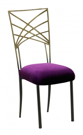 Two Tone Gold Fanfare with Deep Purple Velvet Cushion (2)