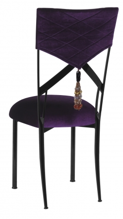 Eggplant Velvet Hat and Tassel Chair Cover with Cushion on Black Legs (1)