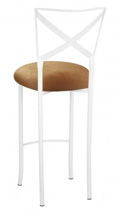 Simply X White Barstool with Gold Velvet Cushion (1)