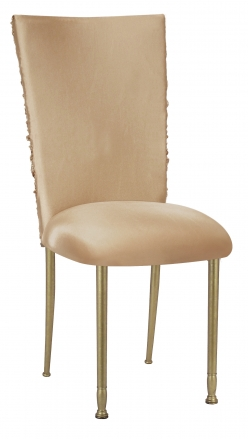 Beige Demure Chair Cover with Beige Stretch Knit Cushion on Gold Legs (2)