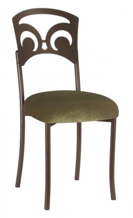 Bronze Fleur de Lis with Olive Velvet Cushion (2)