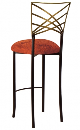 Two Tone Gold Fanfare Barstool with Paprika Crushed Velvet Cushion (1)