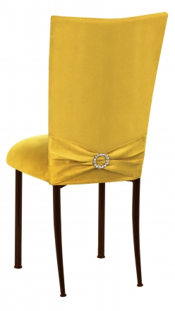 Canary Suede Chair Cover with Jewel Belt and Cushion on Brown Legs (1)