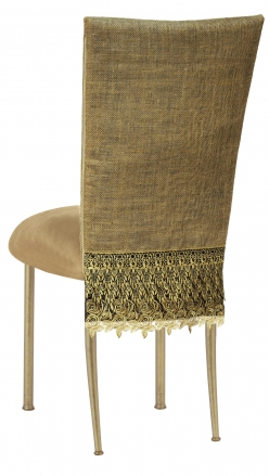 Burlap Fancy 3/4 Chair Cover with Camel Suede Cushion on Gold Legs (1)