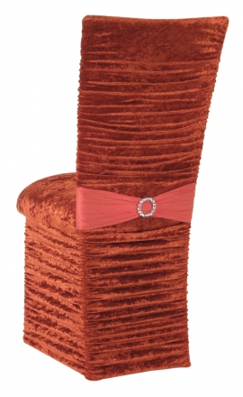 Chloe Paprika Crushed Velvet Chair Cover with Jewel Belt, Cushion and Skirt (1)