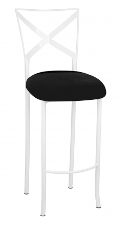 Simply X White Barstool with Black Suede Cushion (2)
