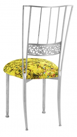 Silver Bella Fleur with Yellow Paint Splatter Knit Cushion (1)