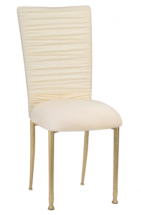 Chloe Ivory Stretch Knit Chair Cover with Jewel Band and Cushion on Gold Legs (2)