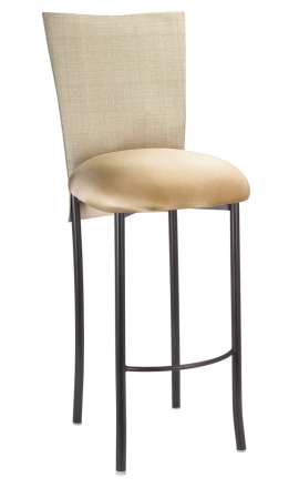 Parchment Linette 3/4 Barstool Cover with Toffee Stretch Knit cushion on Brown Legs (2)