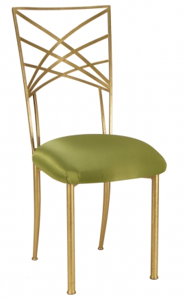 Gold Fanfare with Lime Satin Cushion (2)