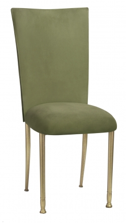 Sage Suede Chair Cover and Cushion on Gold Legs (2)