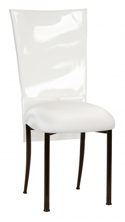 White Patent Chair Cover and Rhinestone Belt with White Stretch Knit Cushion on Brown Legs (2)