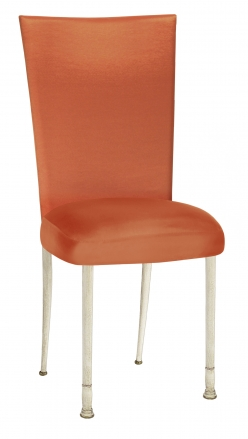 Orange Taffeta Chair Cover with Boxed Cushion on Ivory Legs (2)