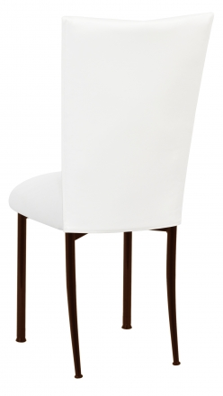 White Leatherette Chair Cover and Cushion on Brown Legs (1)