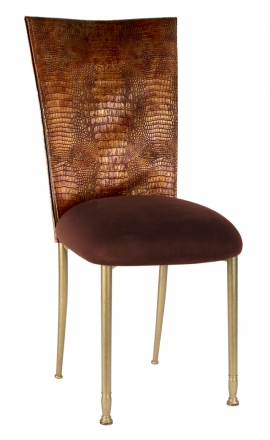 Bronze Croc Chair Cover with Chocolate Suede Cushion on Gold Legs (2)