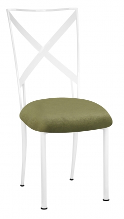 Simply X White with Olive Velvet Cushion (2)