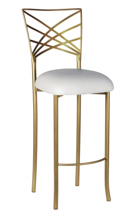 Gold Fanfare Barstool with White Suede Cushion (2)