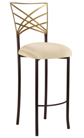 Two Tone Gold Fanfare Barstool with Champagne Bengaline Cushion (2)