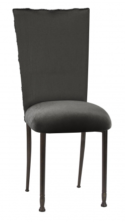 Pewter Circle Ribbon Taffeta Chair Cover with Charcoal Suede Cushion on Mahogany Legs (2)