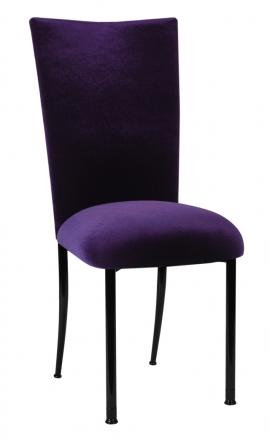 Deep Purple Velvet Chair Cover and Cushion on Black Legs (2)