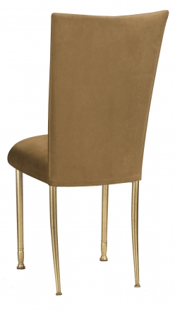 Camel Suede Chair Cover and Cushion on Gold Legs (1)