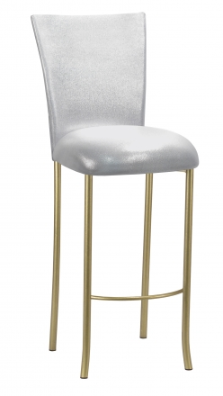 Metallic Silver Stretch Knit Barstool Cover and Cushion on Gold Legs (2)