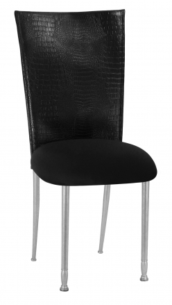 Black Croc Chair Cover with Black Stretch Knit Cushion on Silver Legs (2)