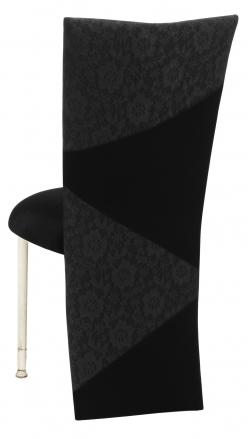 Black Velvet Zig Zag Black Lace Jacket with Black Stretch Knit Cushion on Ivory Legs (1)