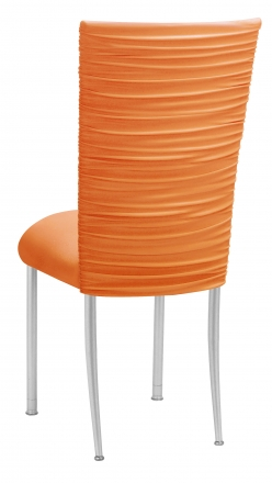 Chloe Tangerine Stretch Knit Chair Cover and Cushion on Silver Legs (1)