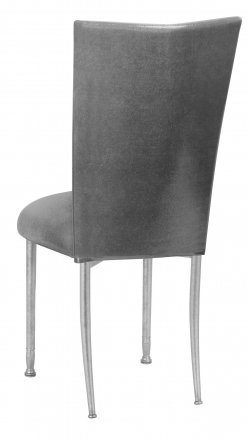 Gunmetal Stretch Knit Chair Cover with Cushion on Silver Legs (1)