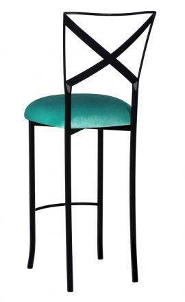 Blak. Barstool with Turquoise Velvet Cushion (1)