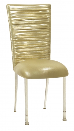 Chloe Metallic Gold Stretch Knit Chair Cover and Cushion on Ivory Legs (2)