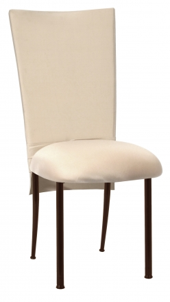 Champagne Dupioni Chair Cover with Champagne Bengaline Cushion on Brown Legs (2)