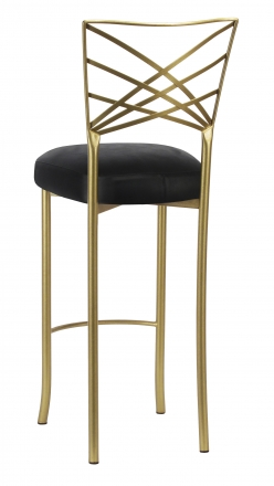 Gold Fanfare Barstool with Black Leatherette Boxed Cushion (1)